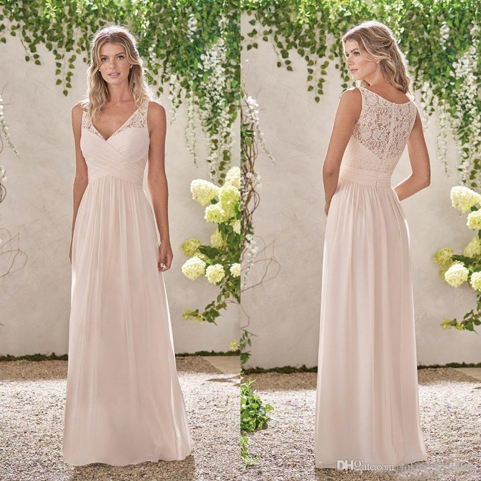 2018 Cheap V Neck Chiffon Bridesmaid Dresses Custom A-Line Sleeveless  Pleats Lace Chiffon Floor Length Beach Maid of Honor Dresses Plus Size
