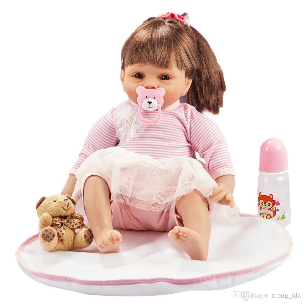 55cm Reborn Baby Dolls Handmade Silicone Baby Toddler Doll Lifelike Soft Vinyl Naked Girl Doll Cute DIY Toys Best Gifts for Kids