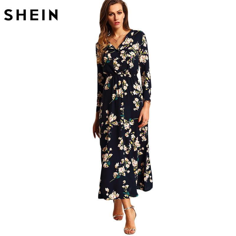 ed396fbc64 SHEIN New Arrival Boho Women Maxi Dresses Navy V Neck Long Sleeve Womens  Elegant With Button Floral Long Party Dress D1891302 Womens Long Black  Dresses ...