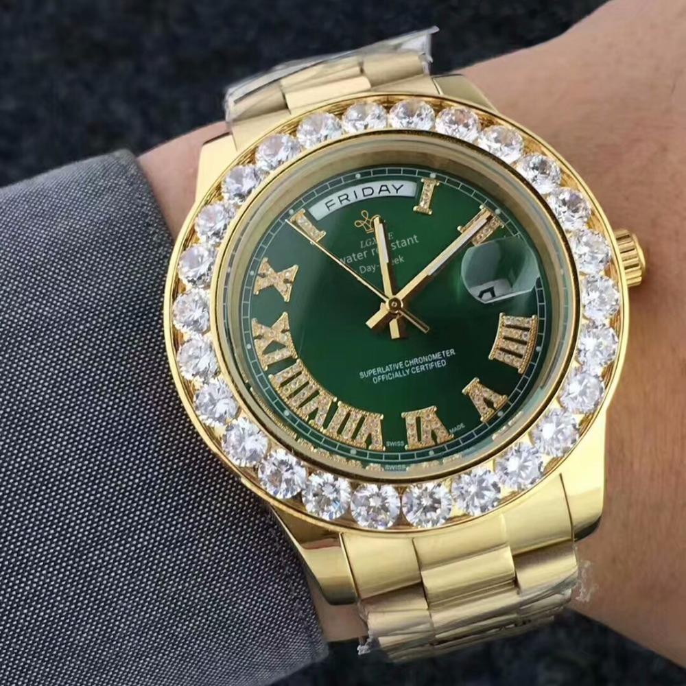 bf4ae3508dd Compre Relógios Homens Relógios De Ouro Do Diamante LGXIGE Marca Relógio De  Quartzo À Prova D  água Para Os Homens Relógio De Pulso De Luxo Data Mãos  ...