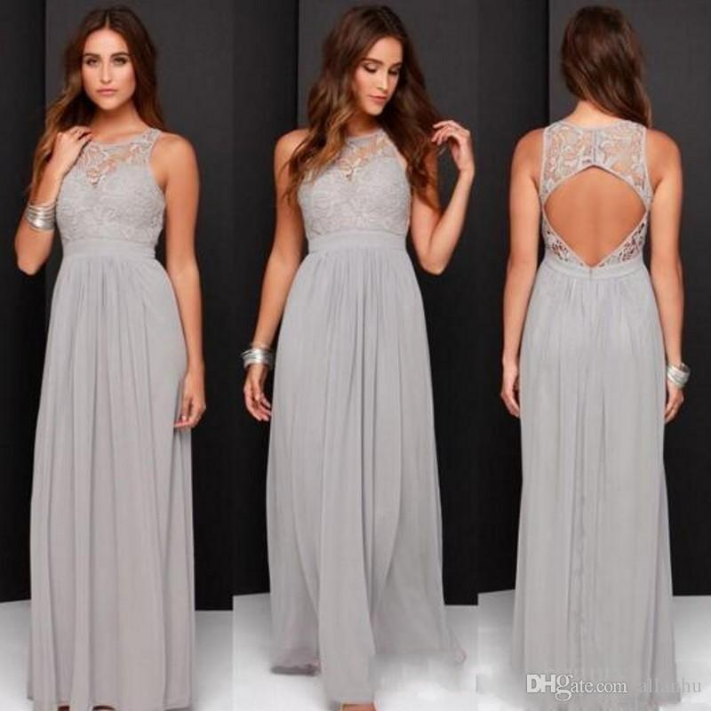 Gray Lace Chiffon 2018 Bridesmaid Dresses Sheer Jewel Neck Pleats A Line Cheap Open Back Maid of the Honor Wedding Party Dresses