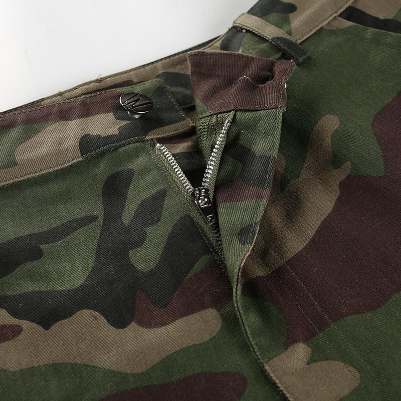 Weekeep Fashion Hohe Taille Camouflage Hose Frauen Patchwork Taschen Baumwolle Cargo Jeans Hosen Frauen Jogginghose Camo Hosen