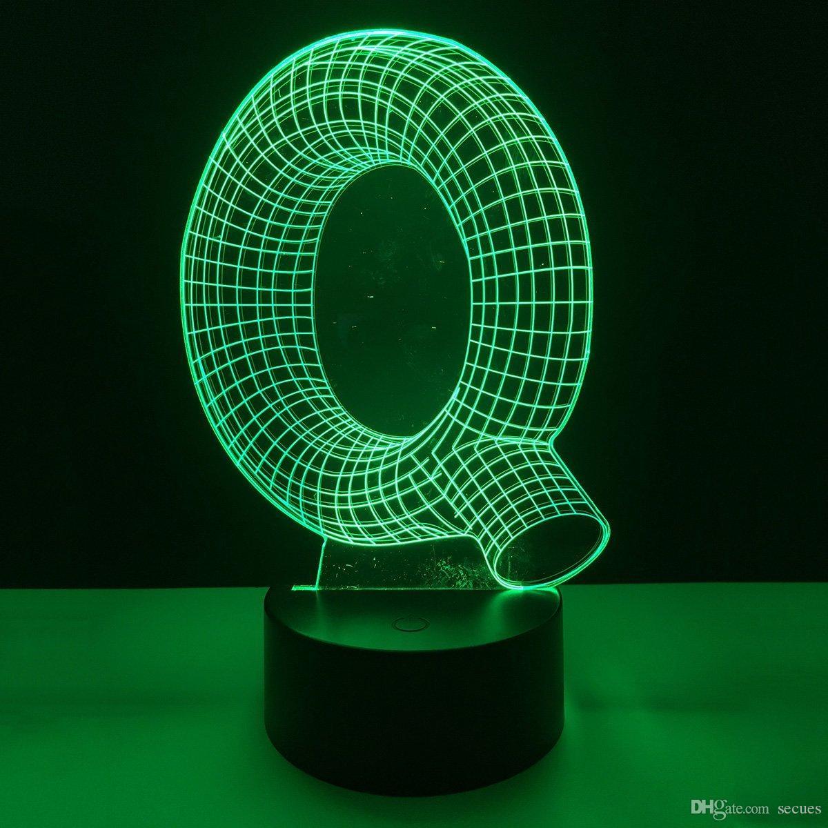 Q Shape 3D Illusion LED Lamp Letters Decoration Light DC 5V USB Powered 5th Battery Wholesale