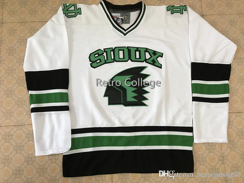2019 North Dakota Fighting Sioux University White Hockey Jersey Custom Plain  Embroidery Stitched Customize Any Number And Name College Jerseys From ... 91f5ce02b5e