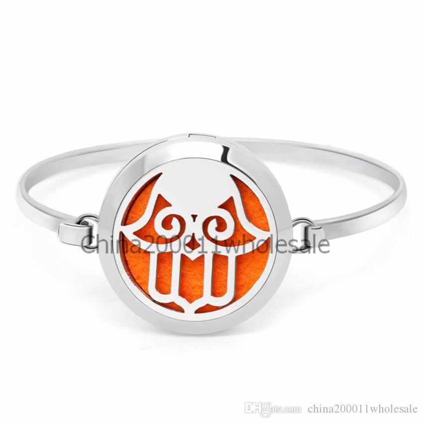 Lotus Flower 30mm Magnetic Stainless Steel Bangle Bracelet Aromatherapy Perfume Diffuser Locket Bracelets Jewelry Making Women Pads
