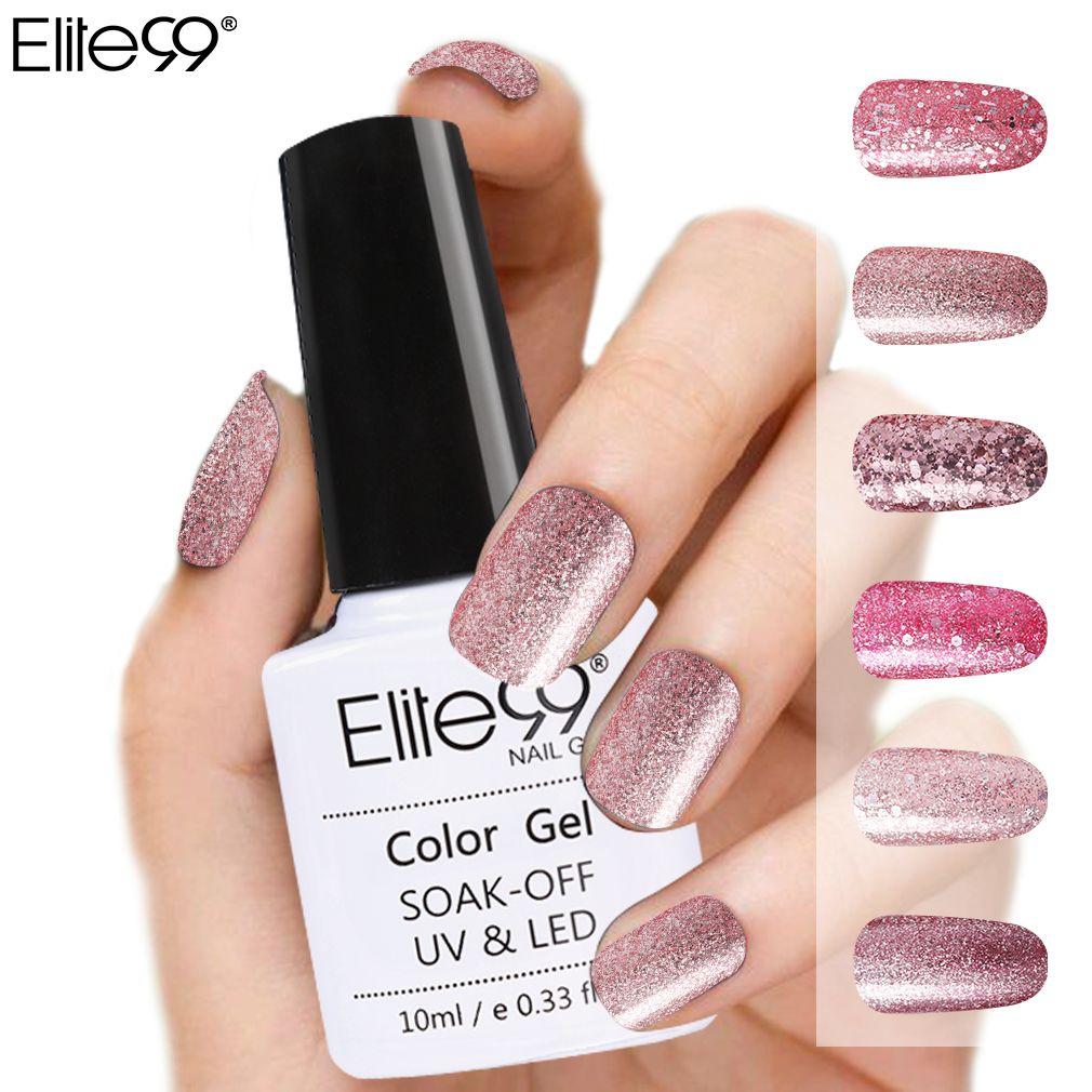 Elite99 Rose Gold Series Nail Gel Polish Shining Glitter Nude Color ...