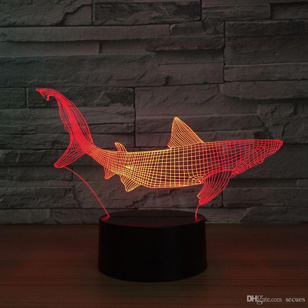Shark 3D Optical Illusion Lamp Night Light DC 5V USB Powered 5th Battery Wholesale Dropshipping Free Shippin