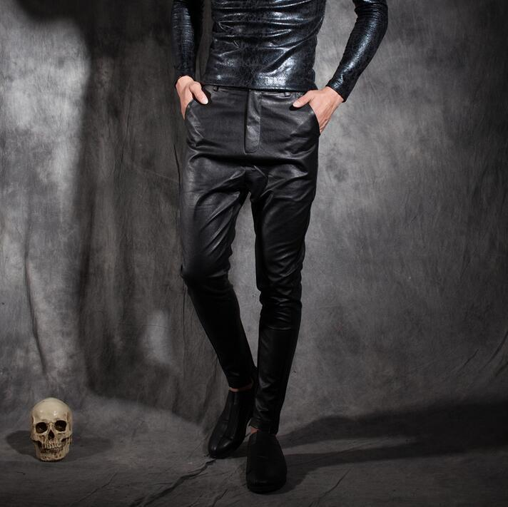 2019 Male Personality Punk Leather Pants Mens Slim Casual Trousers
