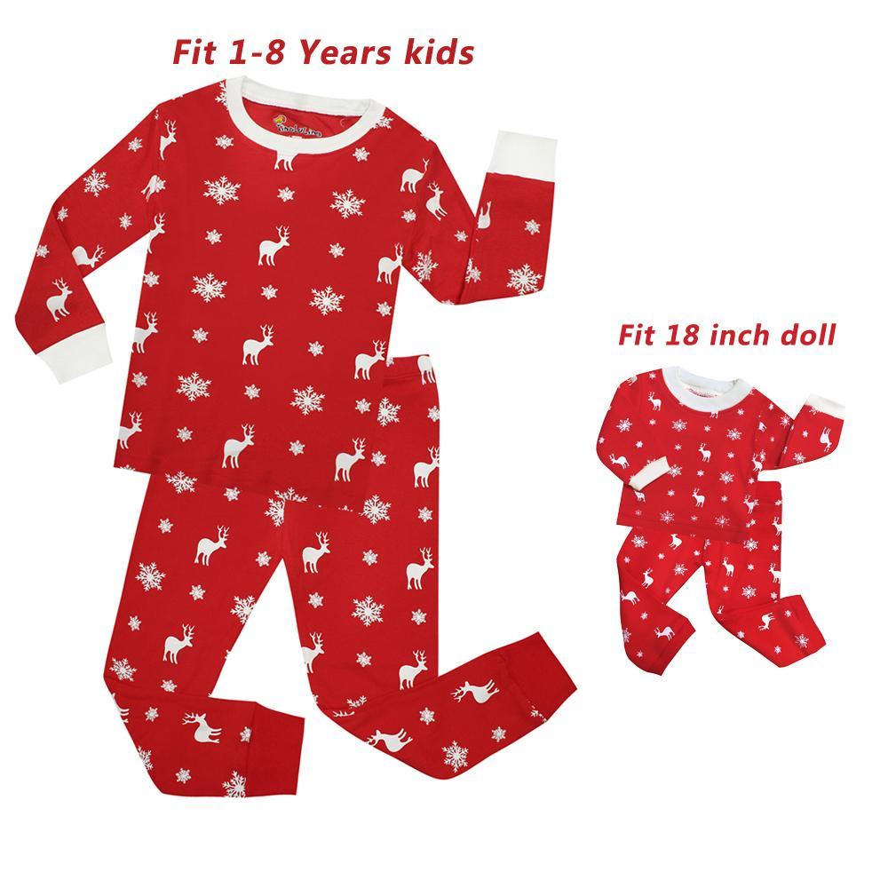 04712d9715 Baby Girls Christmas Pajamas Set Children Doll Sleepwear Kids Princess  Pyjamas Santa Deer Pijamas Nightwear For 18 Inch Personalized Kids Pajamas  Cool Kids ...