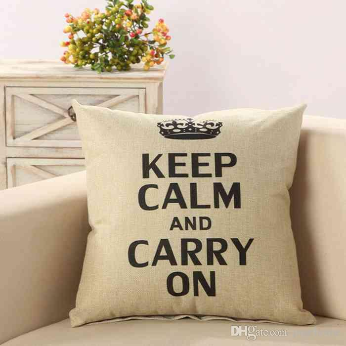 Keep Calm And Carry On Pillowcase Linen Pillow Case Sofa Car Waist Cushion Cover 45*45CM Home Cafe Office Decoration Gift for Friend