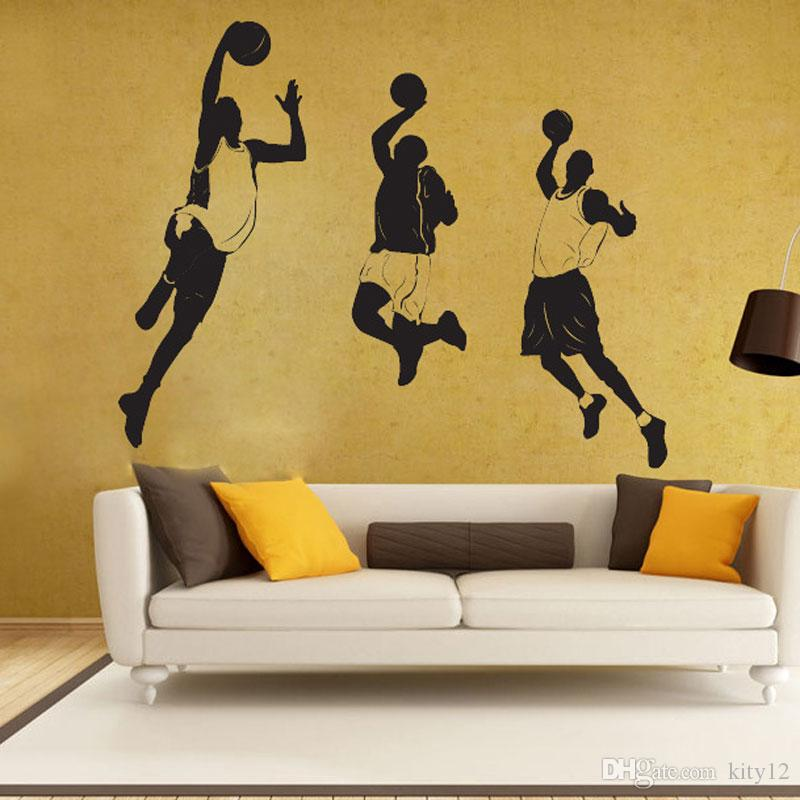 Wholesale New Basketball Player Wall Stickers Removeable DIY Decal Nursery wallpaper for Boys Room Living Bedroom