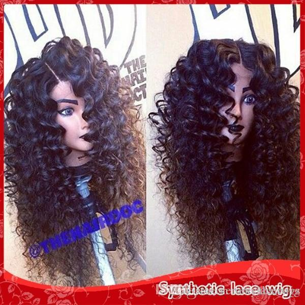 African American Wigs Fiber Afro kinky Curly Hair Wigs Synthetic Lace Front Short Wigs For Black Women Lace Front Hair In Stock