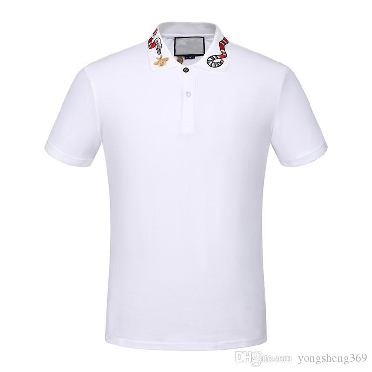 b9e38f926ff 2019 2018 Italy Designer Polo Shirt T Shirts Luxury Brand Snake Bee Floral  Embroidery Mens Polos High Street Fashion Stripe Print Polo T Shirt From ...
