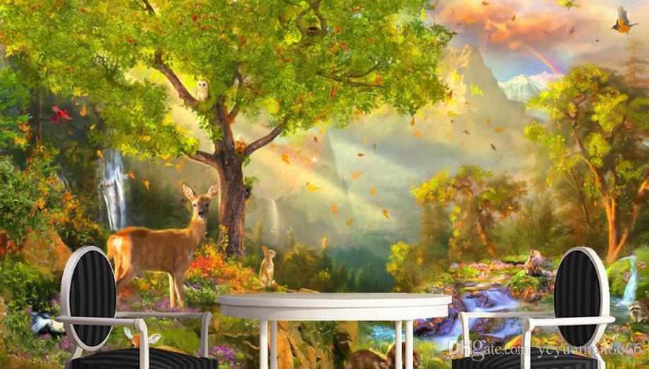HD riesige 3D Wallpaper TV-Raum Sonnenschein Wald Malerei Kunst Wallpaper Stereoscopic 3D Wandbild Hintergrund