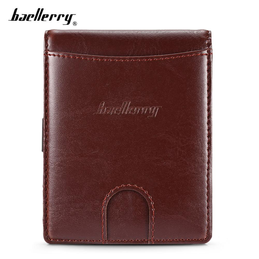 914b53cea9bf0 Baellerry Men PU Leather Wallet Male Card Holder Mini Slim Bifold Money Clip