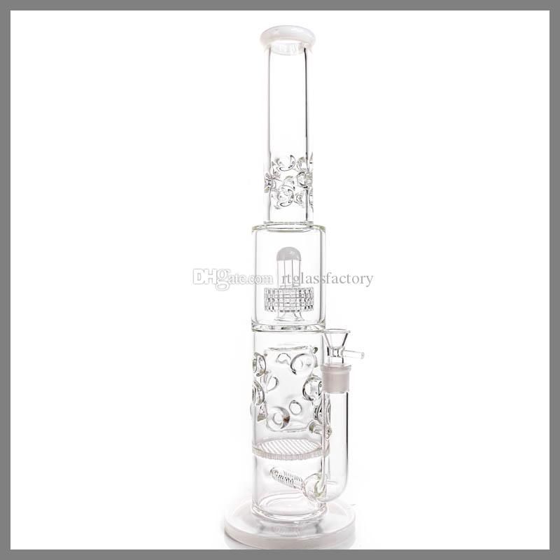 """20.4"""" Big Glass Bong For Strong Men 7mm Thickness Glass White Four Perc Parts Glass Water Pipes"""