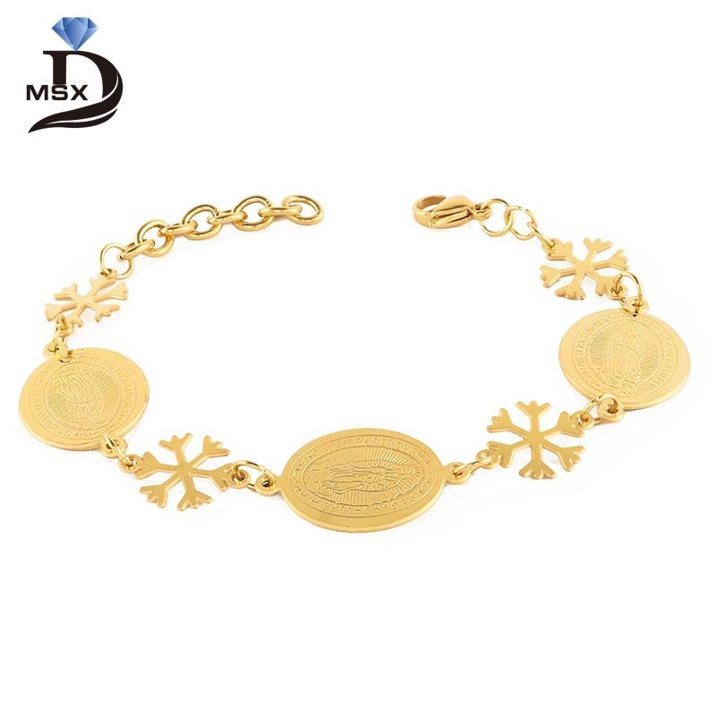 Woman Love Bracelet Bangle Gold Plating Stainless Steel Snow Flower Long  Wrist Band Vintage Female Engagement Jewelry Gift