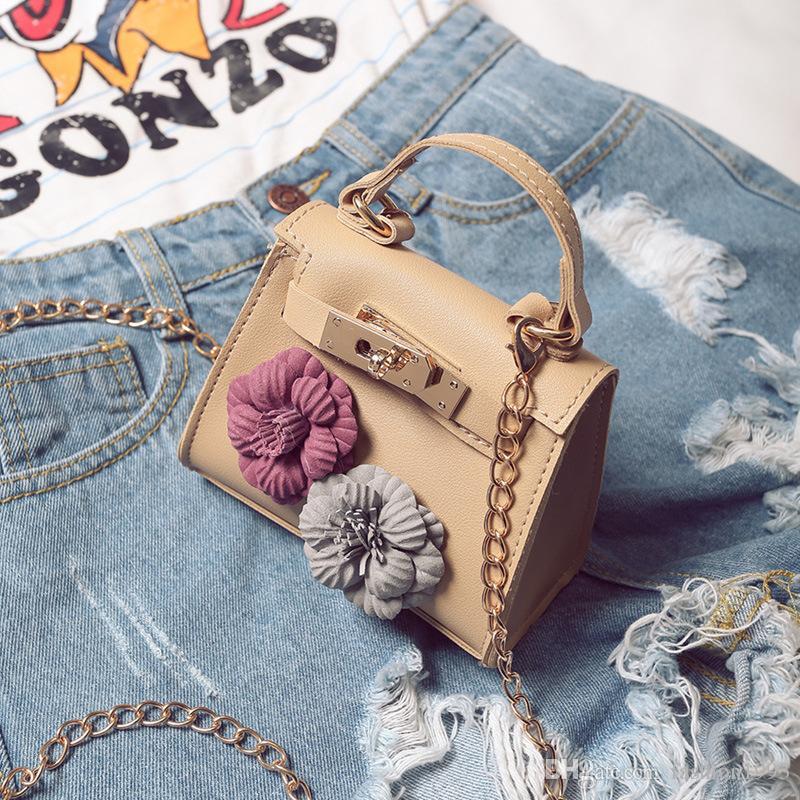 Mode Mädchen Mini Tasche Kinder Handtaschen Mini Tote Baby Mädchen Kette Messenger Bags Blume Handtaschen Für Frauen