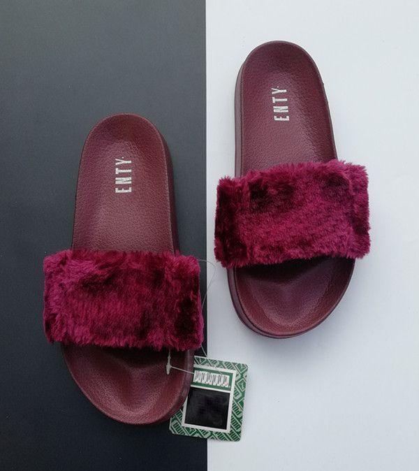 59d2f4d9efe6 Wholesale Rihanna Leadcat Fenty Faux Fur Slide Sandal Women Ladies  Classical Fenty Slippers Cheap Slide Red Purple Blue Sandals Slides Shoes  Birkenstock ...