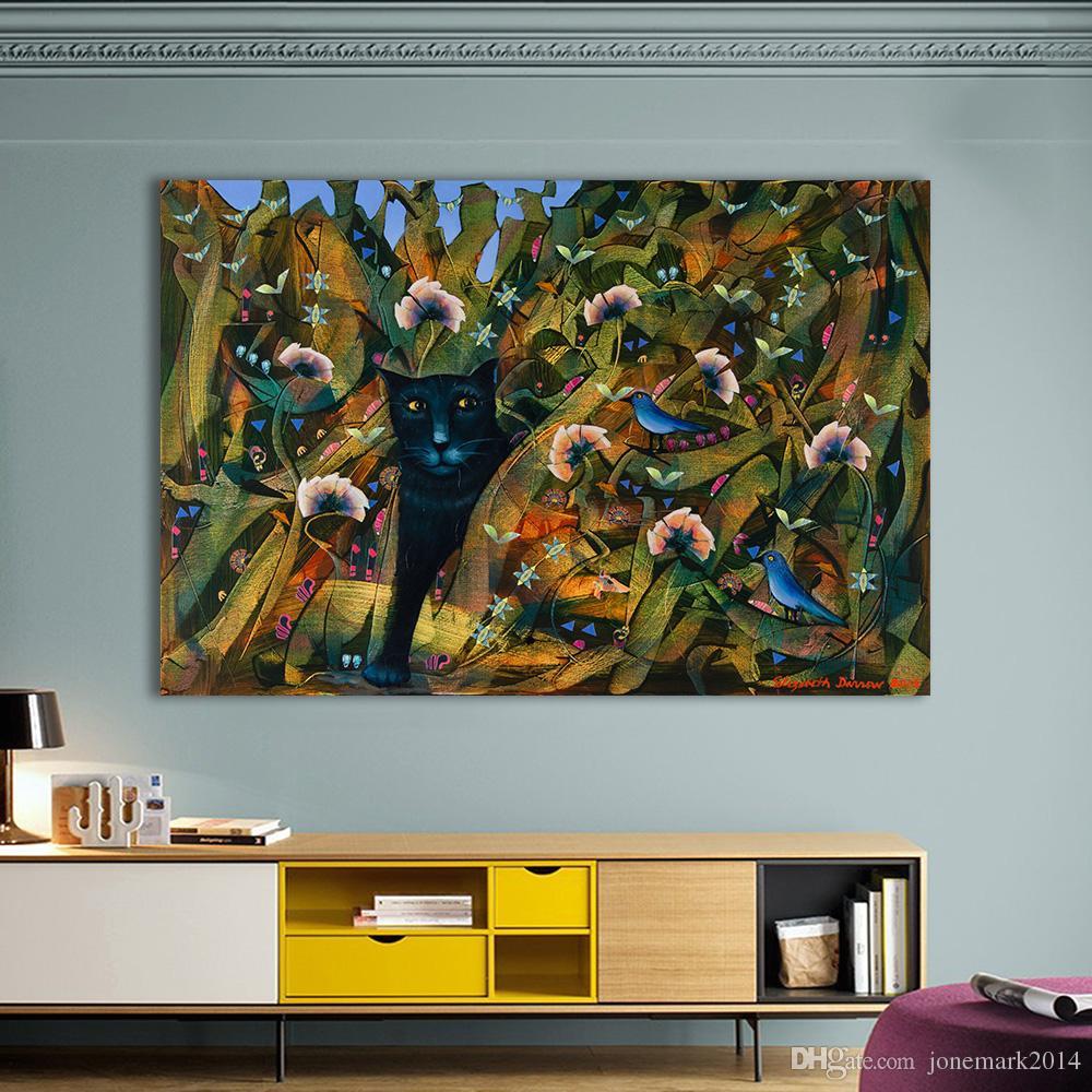 1 Stücke Wandkunst Bilder Für Wohnzimmer Wohnkultur Katze Vogel  Kinderzimmer Leinwand Tier Malerei Kein Rahmen