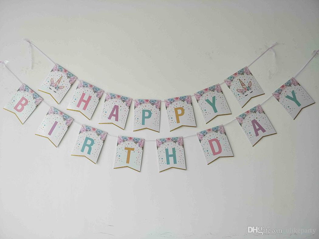 2019 Party Decoration Supplies Happy Birthday CrowS Feet Banner Unicorn For Wedding Etc From Ulikeparty 419