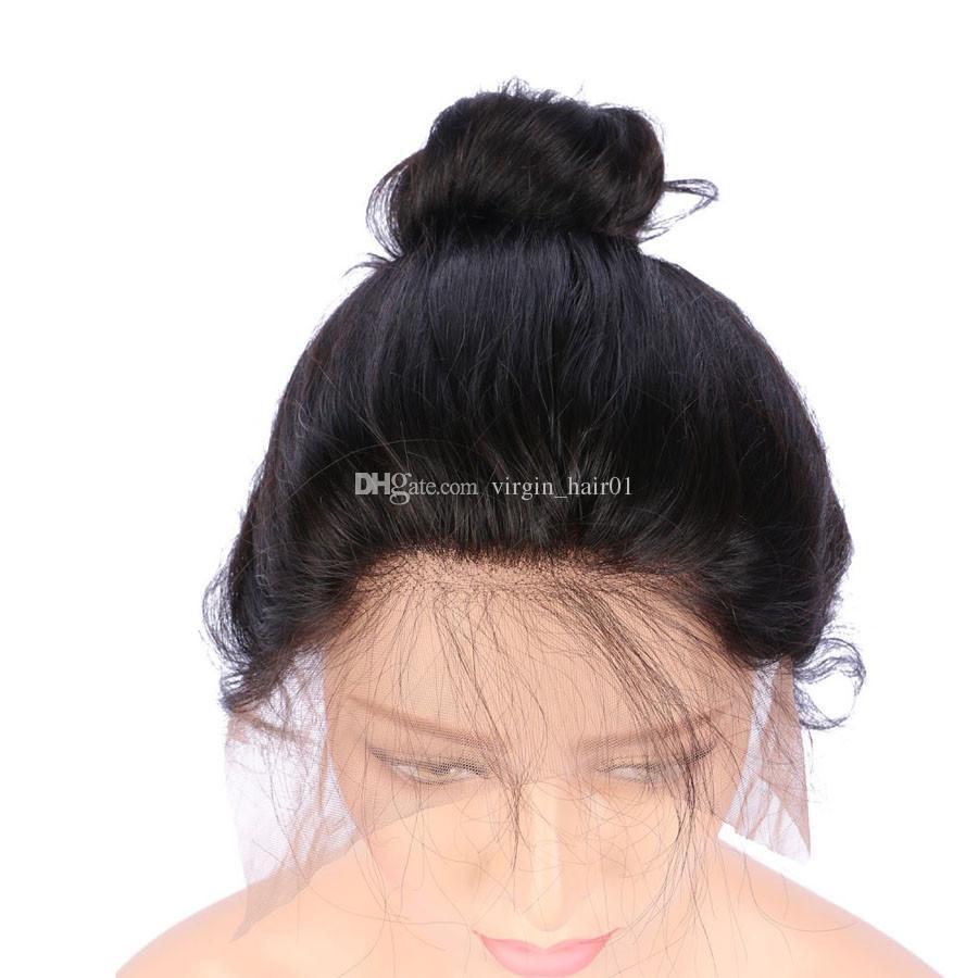 Menschenhaar-Spitzefrontseitenperücken-schwarze Frauen-brasilianisches Jungfrau-Haar 130 Dichte-natürliche Farbe 10-30inch wellenförmige Jungfrau-Perücken glueless volle Spitzeperücke