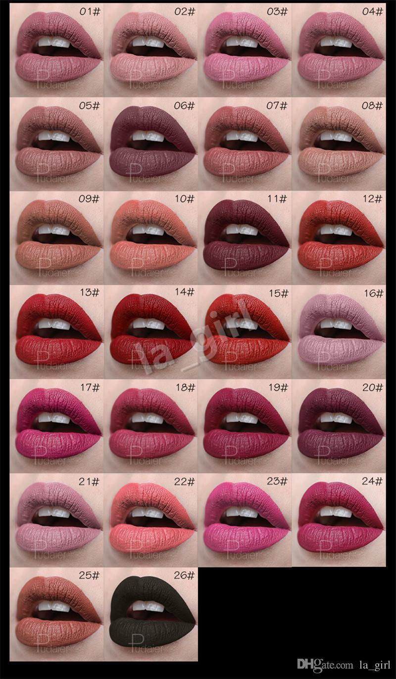 PUDAIER Matte Velvet Lipsticks Set Luxury Gold Long Lasting Matte Velvet Lip Gloss Girlfriend Gift Cosmetics Lipstick