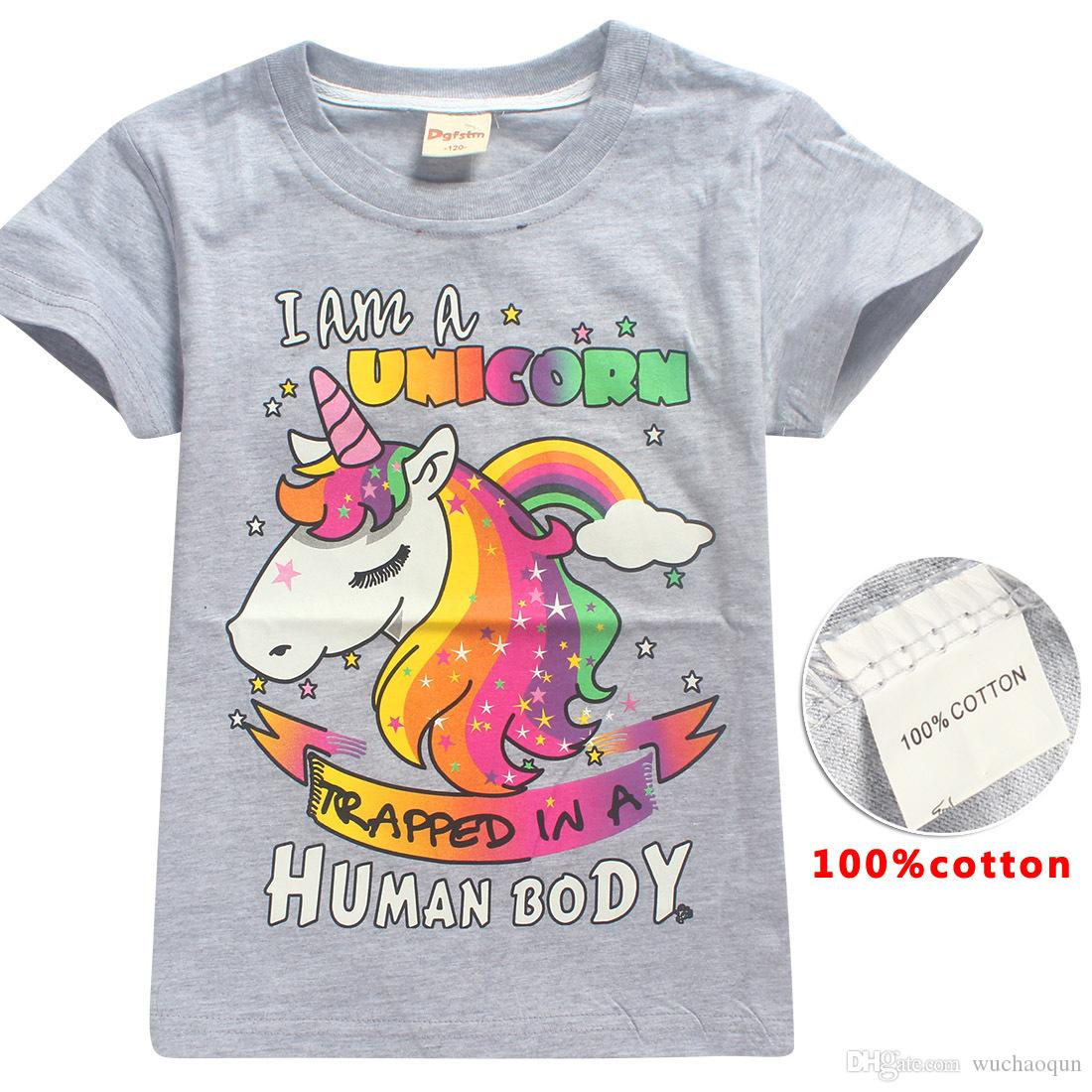 INS Unicorn Girls t shirt 2018 New Children fashion cotton Short sleeve t shirt Baby kids clothing for 6~14years