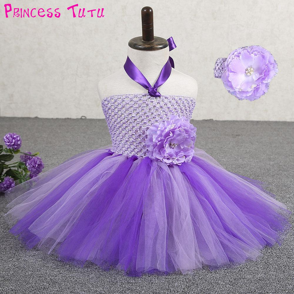 d80ac962f 2019 Cute Purple Lavender Newborn Baby Tutu Dress With Headband Infant  Toddler 1st Birthday Party Photo Prop Dresses Kids Clothes Set From Coolhi,  ...