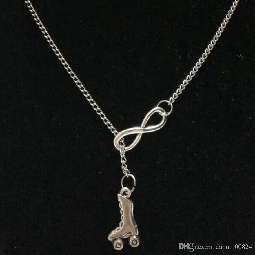 Glück 8Skates / Tauchen Athlet / Göttin der Erde / Tanz / Ich liebe Segeln Vintage Silber Charm Pullover Kette necklaceDIY Frauen Schmuck Zubehör