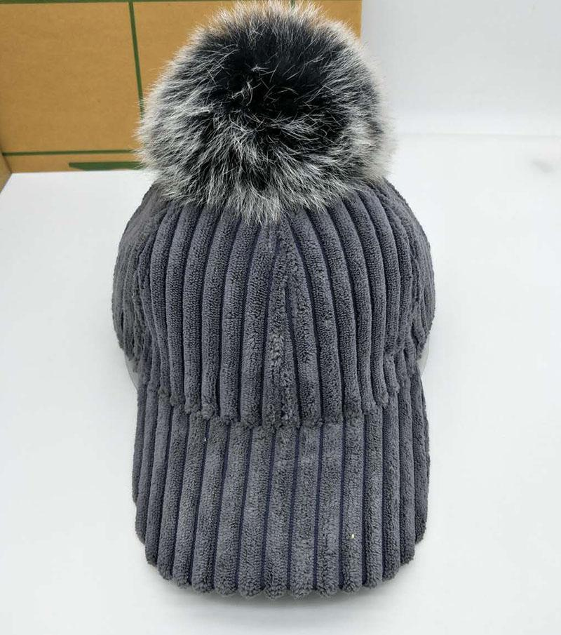 a6db89750d4 Real Fur Pompom Cap Winter Hats For Women Stripe Suede Baseball Cap With  The Fox Fur Pom Poms Ball Female Snapback Bone The Game Hats Baby Caps From  ...