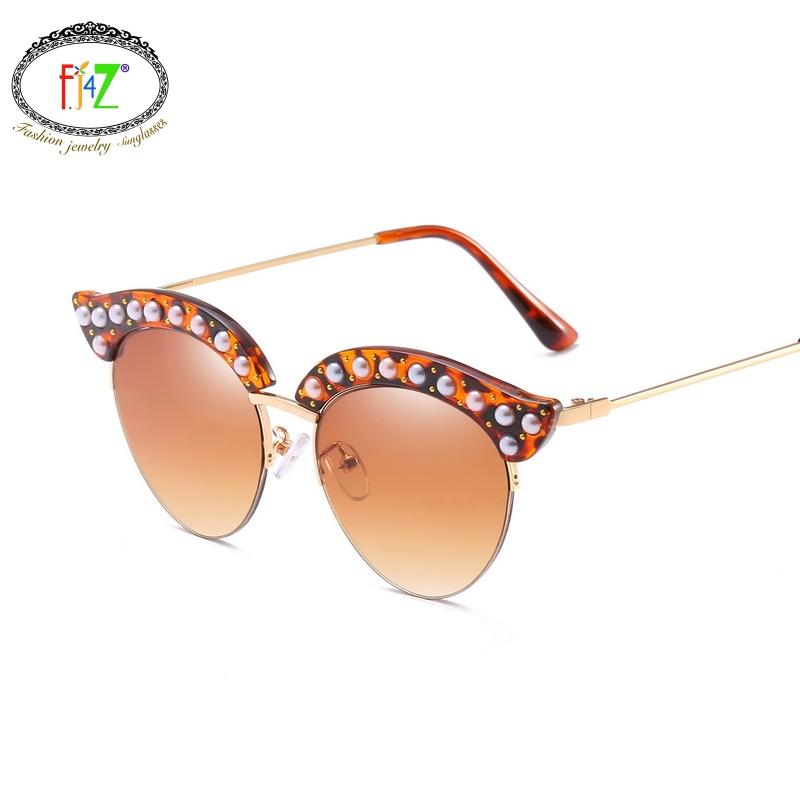 29b6d82521 F.J4Z Beautiful Cat Eye Pearl Eyebrow Sunglasses For Women Outdoor  Protection Fashion Fancy Casual Semi Frame Eye Shades Glasses Heart Shaped  Sunglasses ...