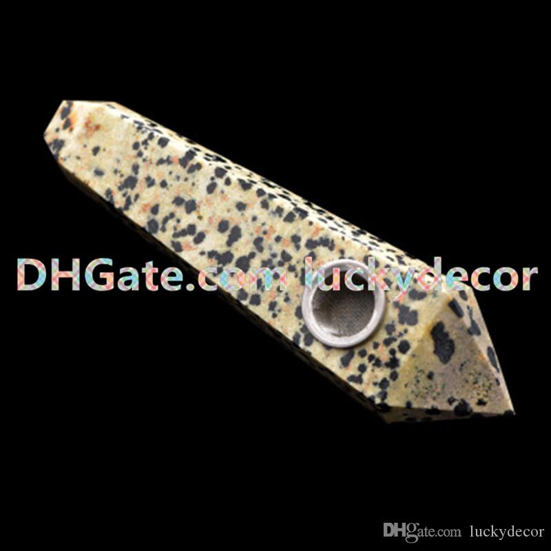 Sacral Chakra Dalmation Jasper Tube Natural Polished Gemstone Rock Stone Crystal Carving Faceted Point Wand W/Carb Hole Smoking Tobacco Pipe