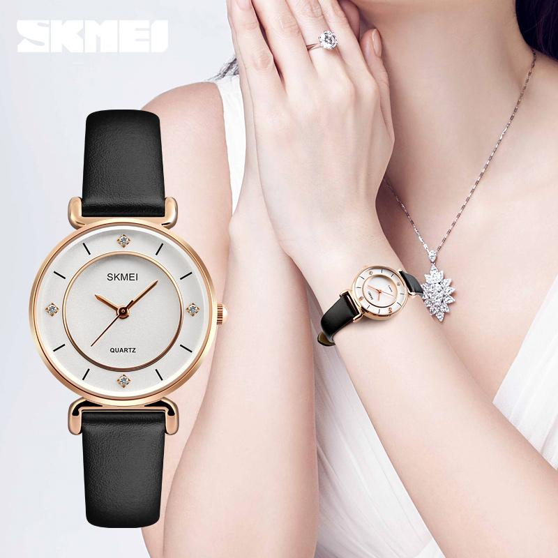 8e5f9ba6ae02 Compre SKMEI 1330 Mujeres Relojes De Moda Impermeables Vestido Casual Niñas Relojes  De Pulsera Correa De Cuero Reloj De Cuarzo Señoras A  28.07 Del ...