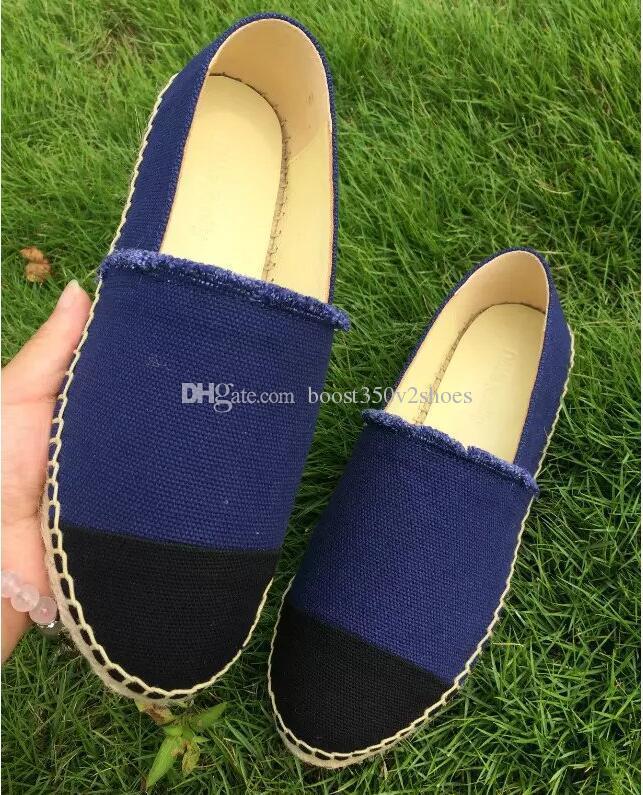 Yeni Moda Tuval ve Gerçek Postu kadın Espadrilles Düz Ayakkabı Yaz Loafer'lar Espadrilles Boyutu EUR34-42 Kutu ile Birçok Renkler