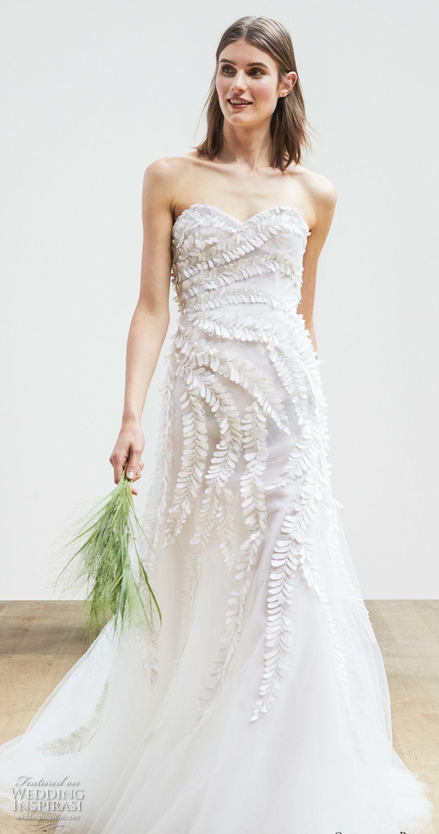 Oscar De La Renta Wedding Dresses.Elegant Romantic A Line Wedding Dresses 2018 Oscar De La Renta Bridal Sweetheart Neckline Embellished Bodice Chapel Train