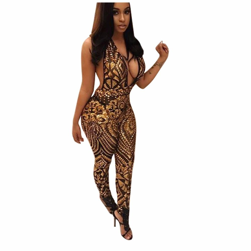 64bf79d5c977 S-XL Women Casual Club Party Rompers 2018 Sexy Sequins V-Neck ...