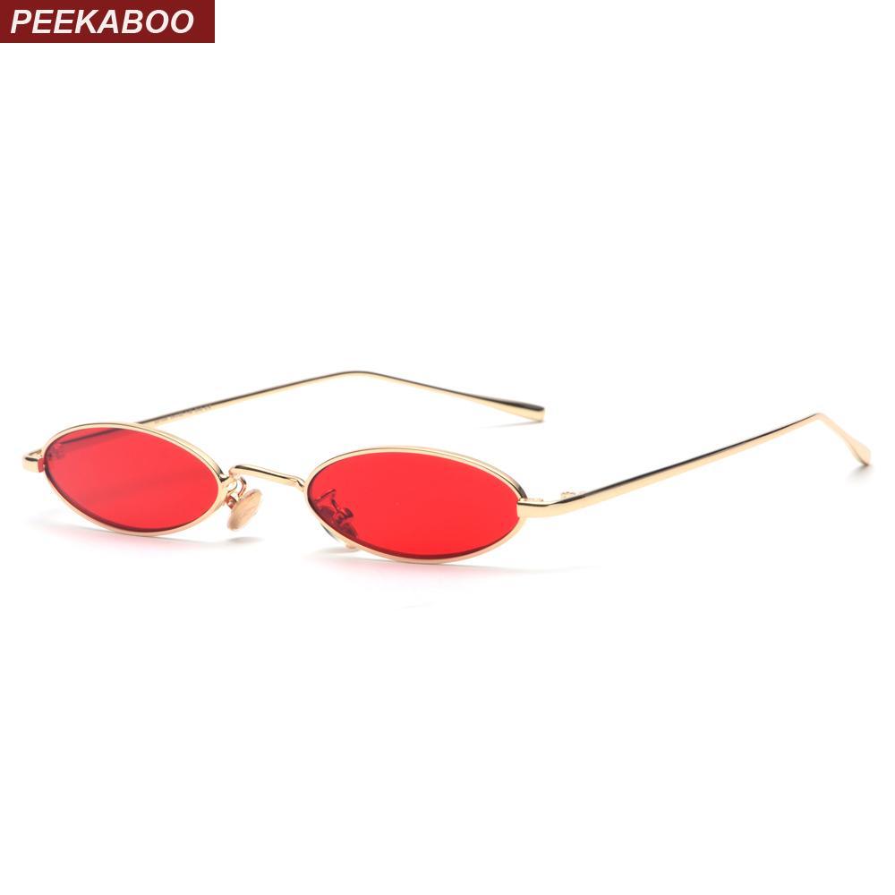 70997ff99e101 Compre Peekaboo Pequenos Óculos De Sol Ovais Para Homens Masculino Retro  Frame Do Metal Amarelo Vermelho Do Vintage Pequeno Rodada Óculos De Sol  Para As ...
