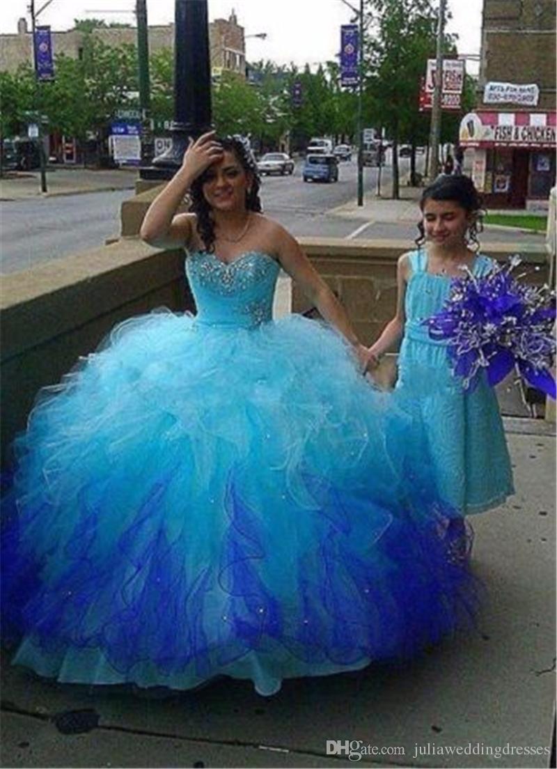 f12df4c1f Compre 2018 Nuevo Hermoso Vestido De Bola Rebordear Largo Azul Quinceañera  Vestidos Cristales Por 15 Años Dulce 16 Más Tamaño Vestido De Fiesta De  Baile ...