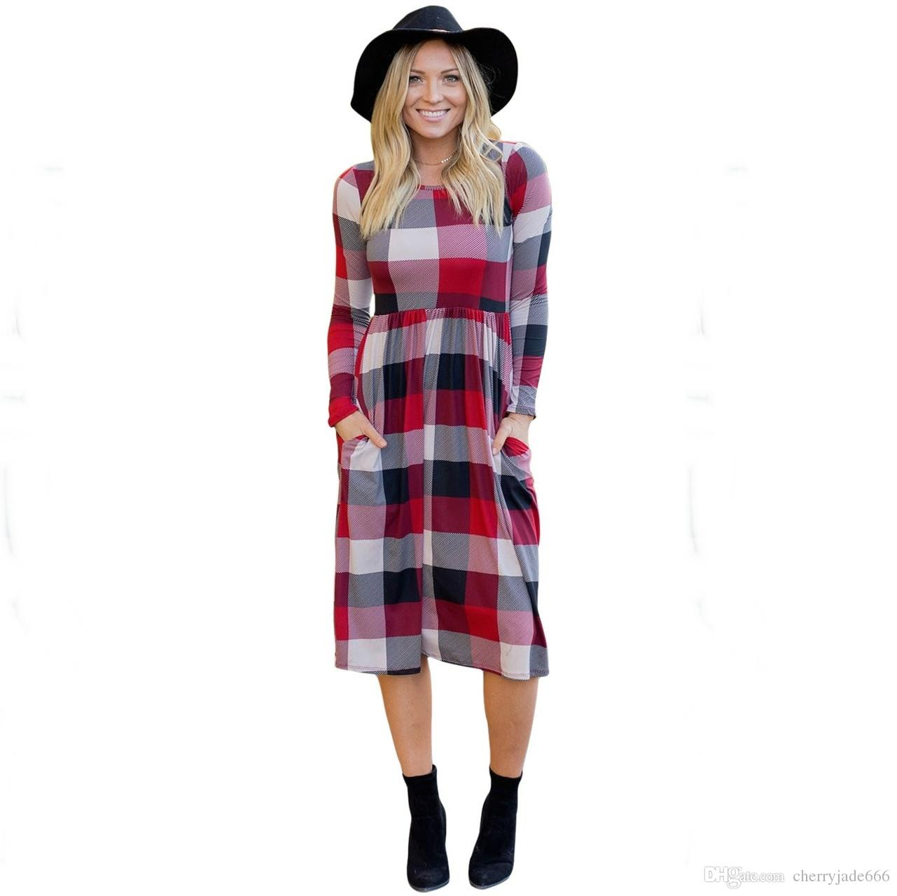 Acquista 2017 Autunno Inverno Abito Nuovo Manica Lunga O Collo Plaid Dress  Donna Abito Lungo Rosso   Verde Con Taschino A  17.48 Dal Cherryjade666  1fda64cdb6e