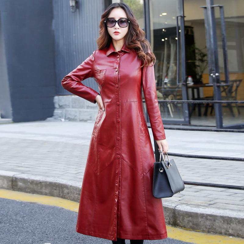 2019 Xxxxxl Autumn Large Swing Women Faux Leather Trench Coats China