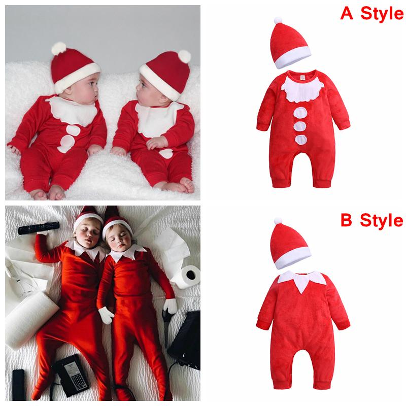 Christmas Baby girls boys romper cartoon Long sleeve infant Santa Claus Jumpsuits with hat Xmas kids Climbing clothes AAA1216