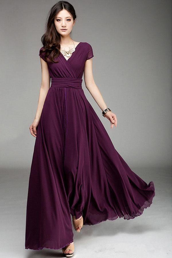 Plum V Neck Short Sleeve Long Chiffon Bridesmaid Dresses With Ruffle Elegant A Line Prom Dresses Floor Length Wedding Party Dress