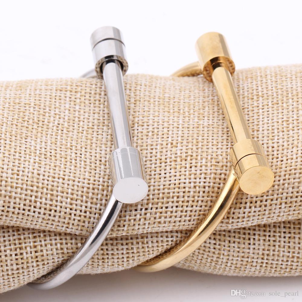 nuevas pulseras tipo abierto pulseras 2018 nueva moda pulseras de acero inoxidable para mujeres hombres joyas oro plata venta por mayor en forma de D brazaletes