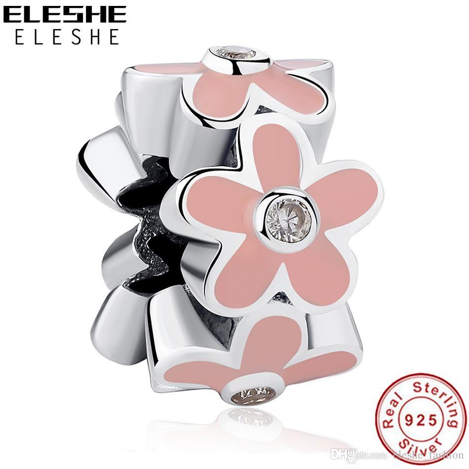 ELESHE Enamel Pink Daisy Flower Beads Luxury 925 Sterling Silver ...