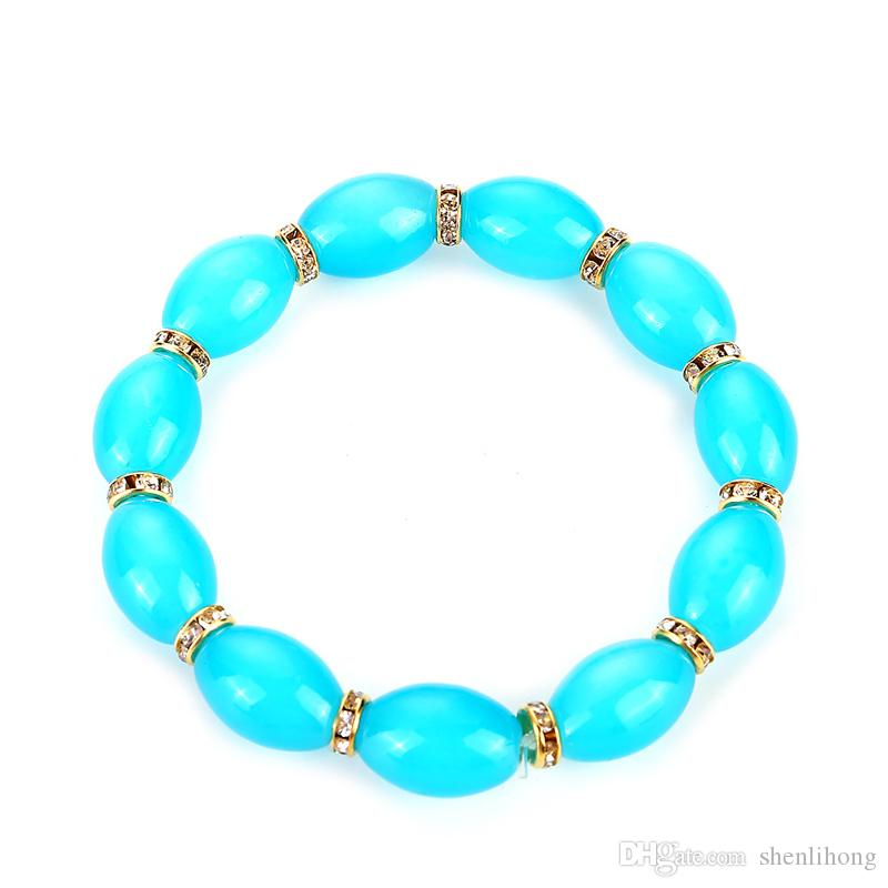 china style artificial agate oval shape multi color glass beads elastic bracelet online shop for women drop shipping