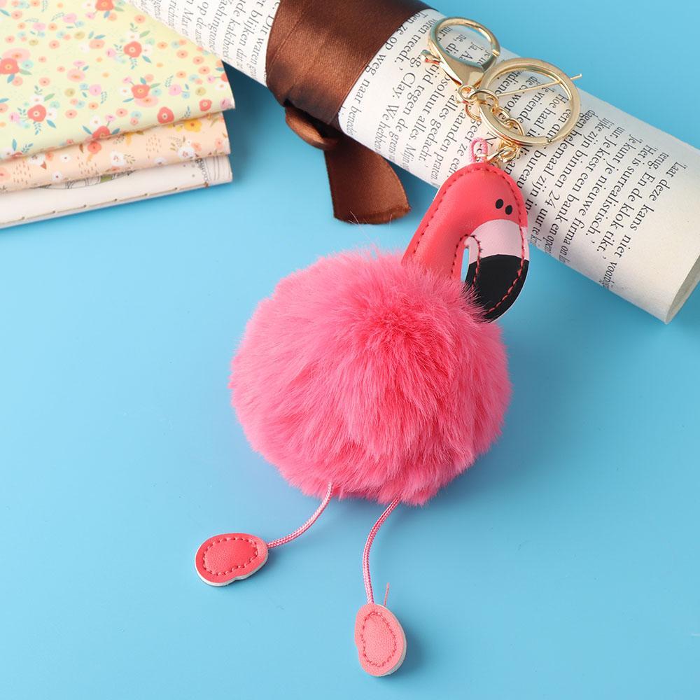 1 PZ Più Nuovo Modo Delle Donne Del Fumetto Flamingo Portachiavi Ciondolo Borsa Auto Portachiavi Pelliccia di Coniglio Portachiavi Gioielli Vendita Calda