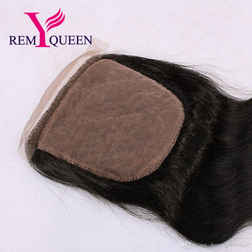 Remy Queen Brazilian Free Part Body Wave 4x4 Silk Top Lace Closure Swiss Lace Unprocessed Hair Factory Outlet Shipping Free