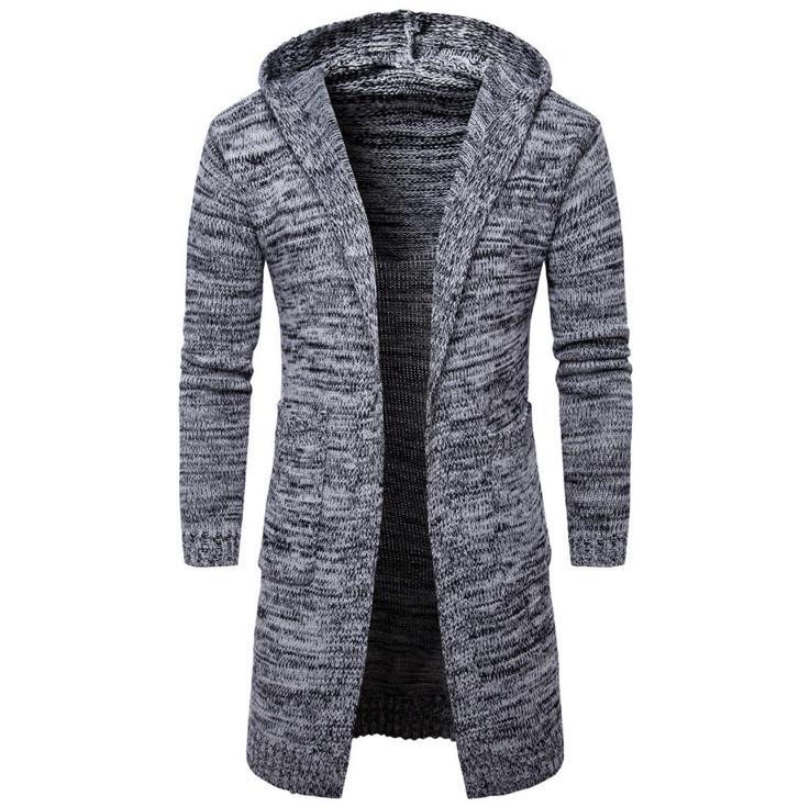 AOWOFS 2017 Yeni moda erkek hırka kazak Rahat uzun ceket Sonbahar kapşonlu Örme Kazak Avrupa ve Amerika Sweatercoats