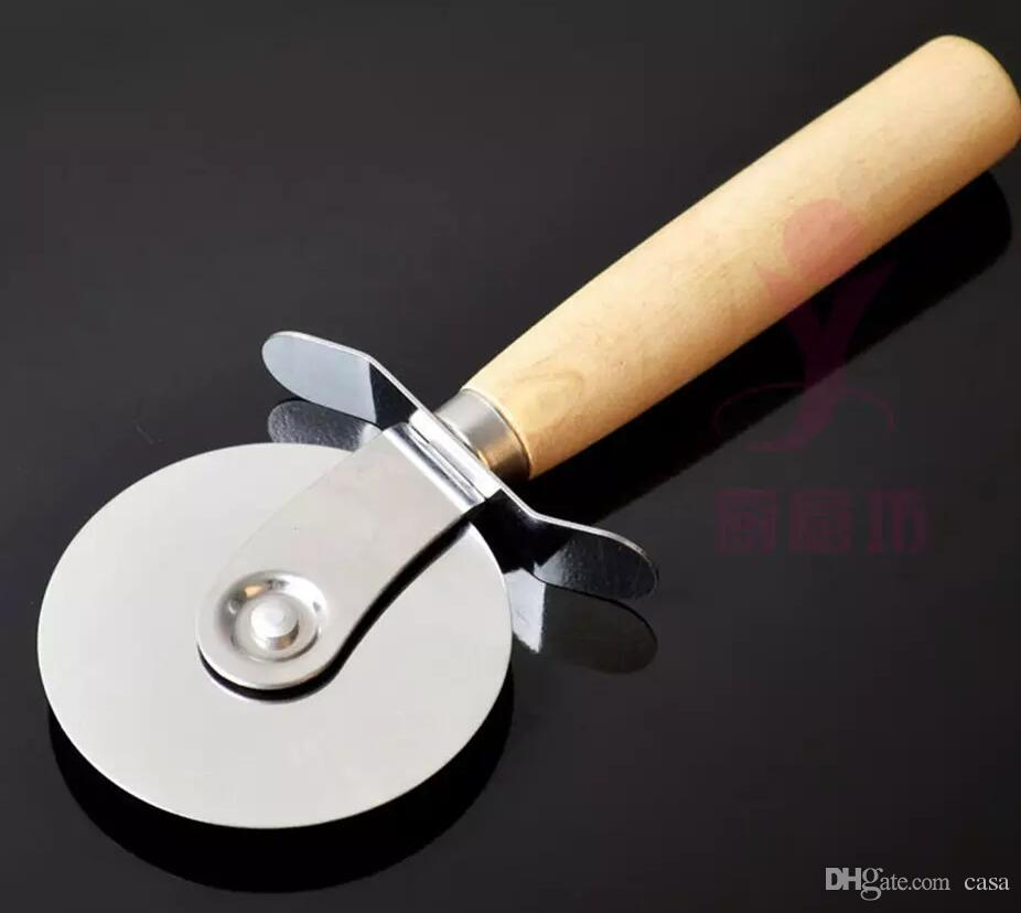 Pizza Cutters Stainless Steel Pizza Wheels With Wooden Handle Pizza Knife Pastry Pasta Dough Crimper Round Kitchen Tools